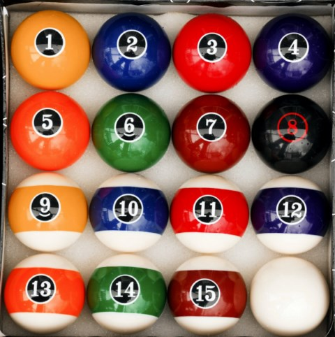 Case of 6 - Modern Style Pool Ball Sets -Billiards